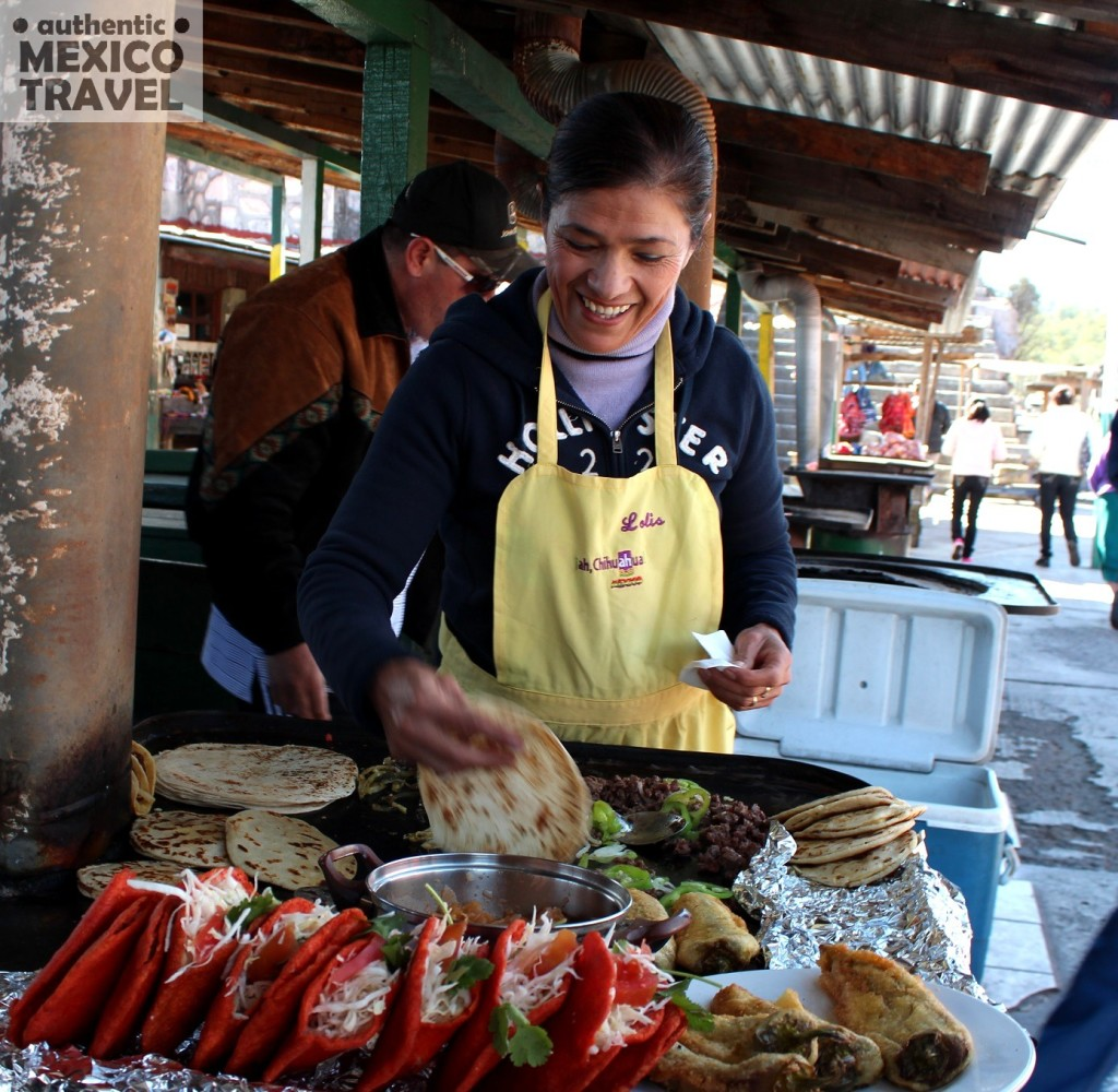 One of the best cooks along the Copper Canyon train line is Lola Mancinas- seen here at her stand at the Divisadero train stop.